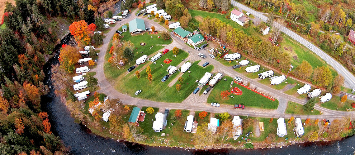 Aerial view of Moose River Campground